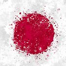 Japan Flag Action Painting - Messy Grunge by Garyck Arntzen