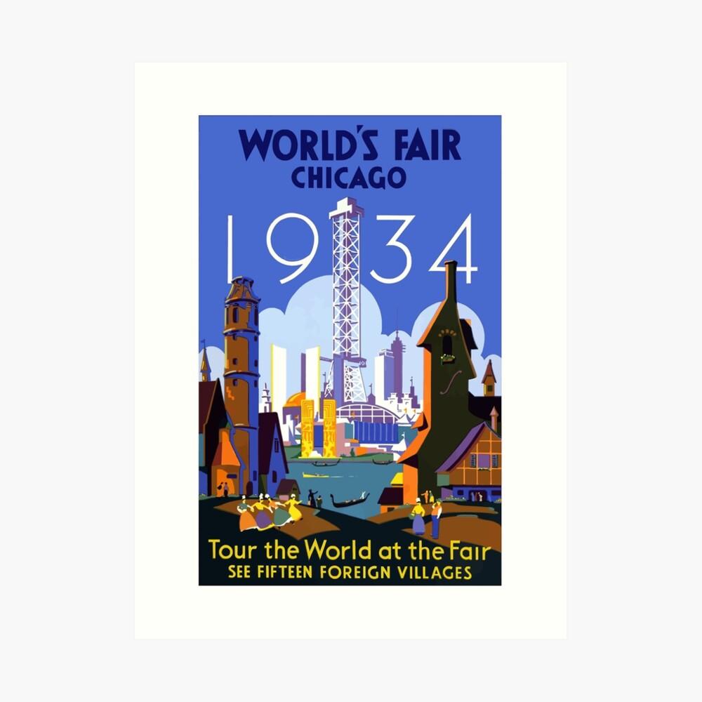 Weinlese-Reise-Plakat der Weltausstellung-Chicago 1934 Kunstdruck