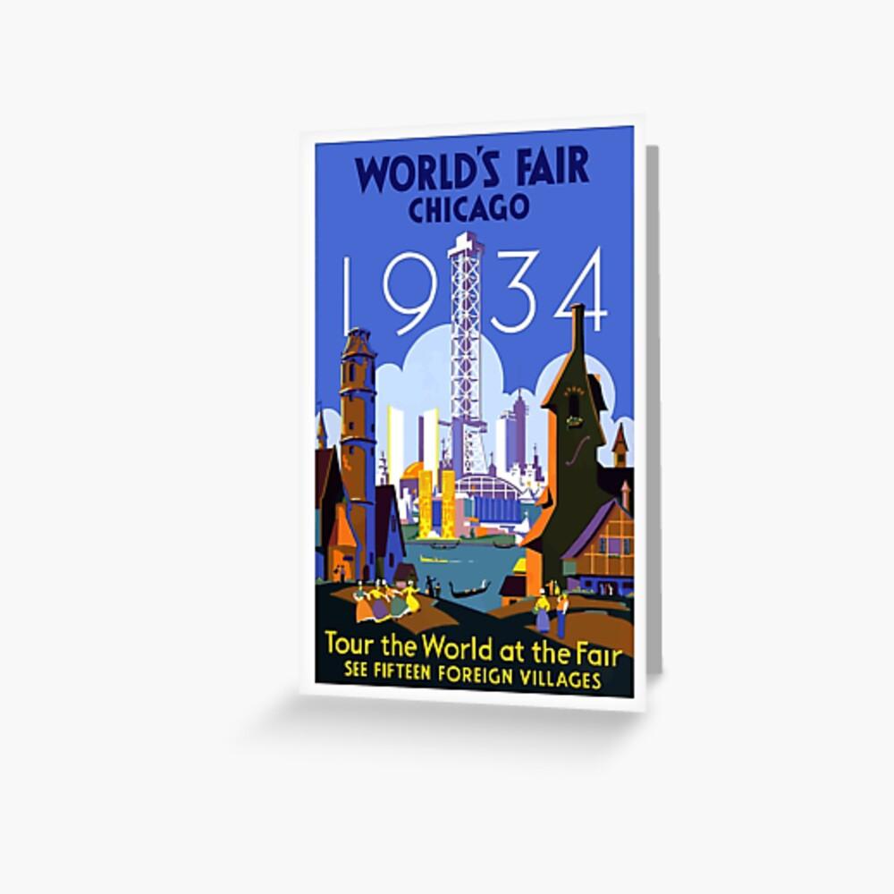Weinlese-Reise-Plakat der Weltausstellung-Chicago 1934 Grußkarte