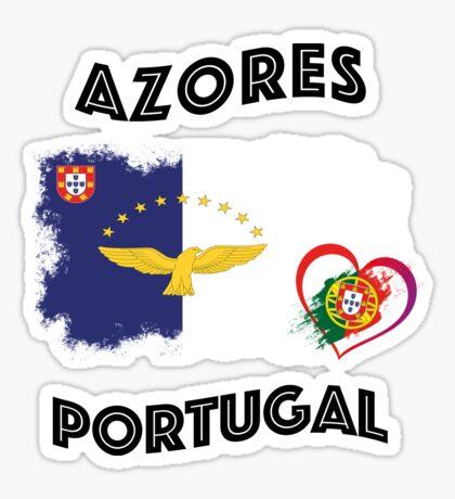 Azores Azoren Habicht Portugal Herz Flagge Fahne Sticker