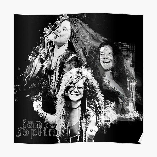 Janis Joplin Black and White - digital paint by Iona Art Digital Poster