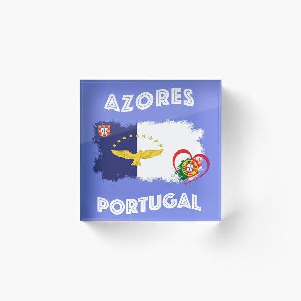 Azores Azores hawk Portugal heart flag flag Acrylic Block