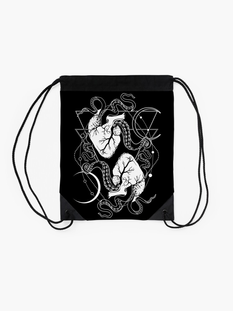 Alternate view of VALENTINES DAY 01: The macabre tentacle hearts Drawstring Bag