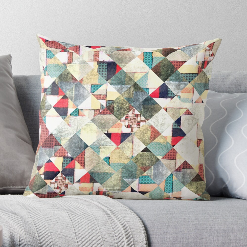 Grunge Weave Pattern Throw Pillow