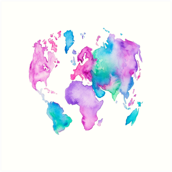 Modern world map globe bright watercolor paint art prints by modern world map globe bright watercolor paint by girlytrend gumiabroncs Image collections