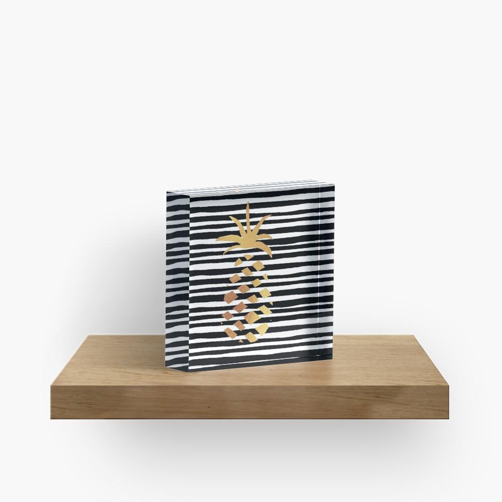 Gold Pineapple-B&W Acrylic Block