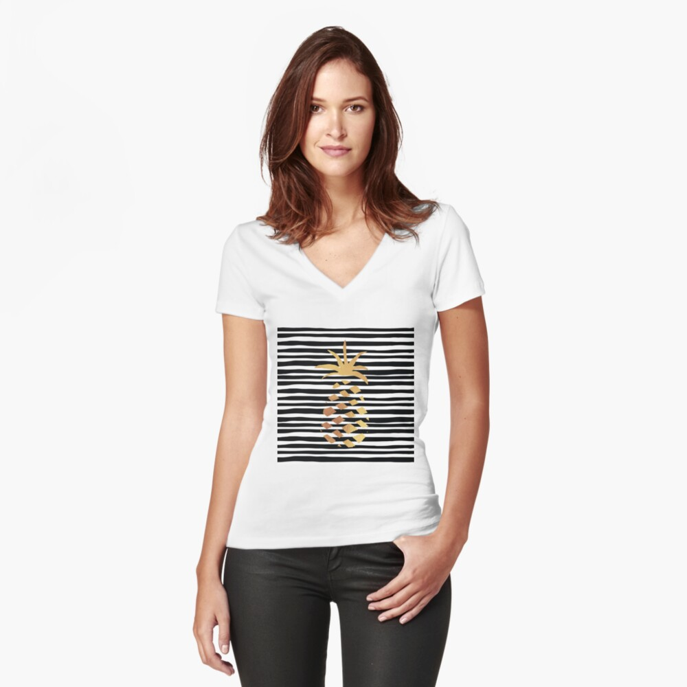Gold Pineapple-B&W Fitted V-Neck T-Shirt