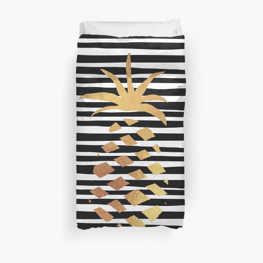 Gold Pineapple-B&W Duvet Cover