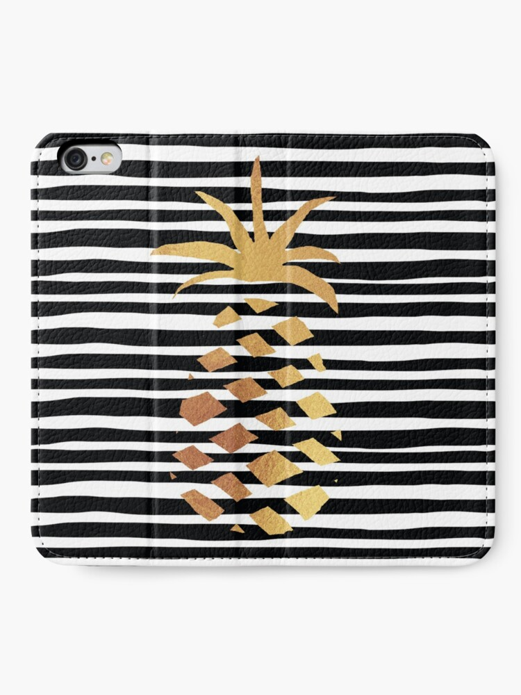 Alternate view of Gold Pineapple-B&W iPhone Wallet