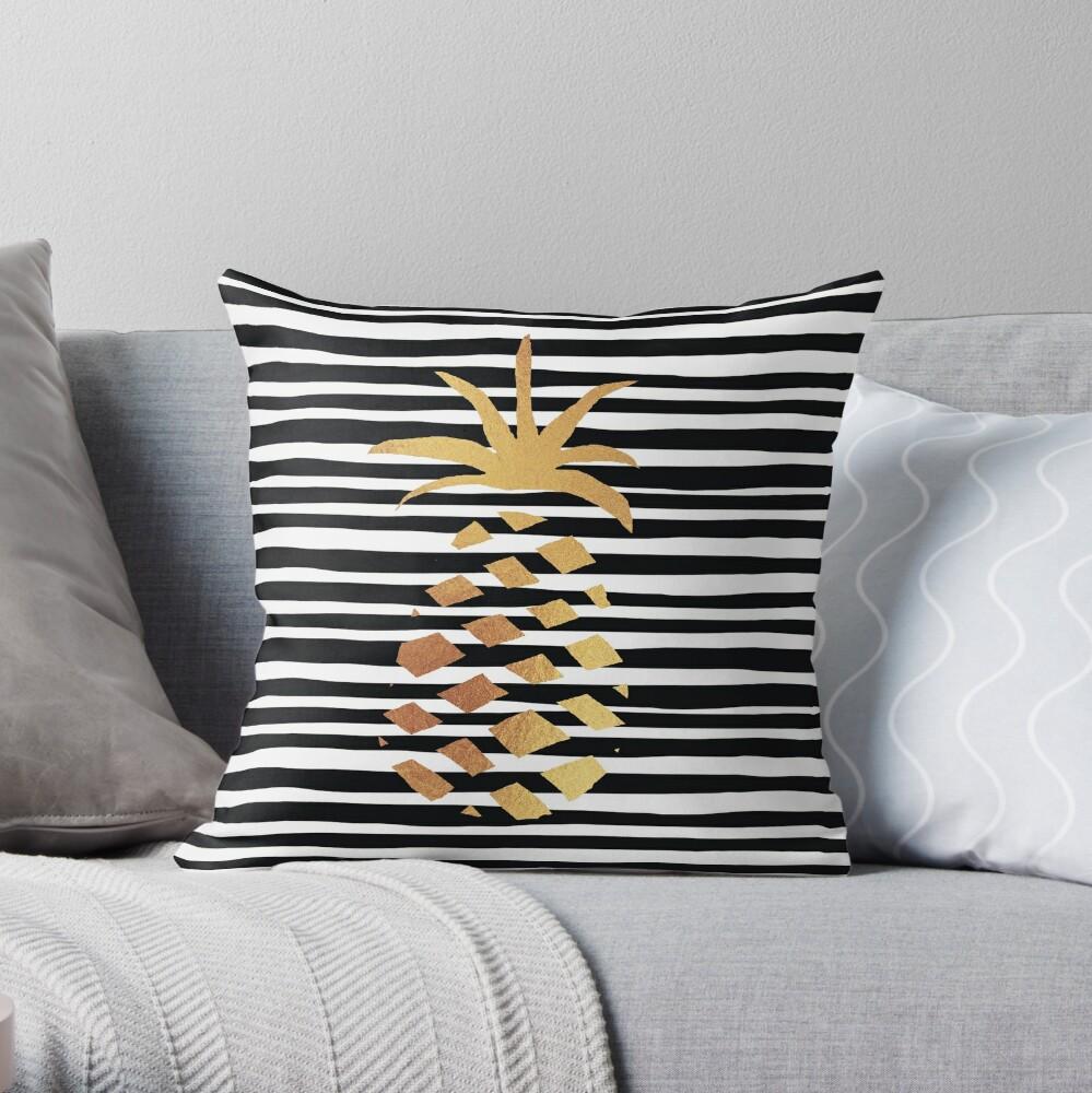 Gold Pineapple-B&W Throw Pillow