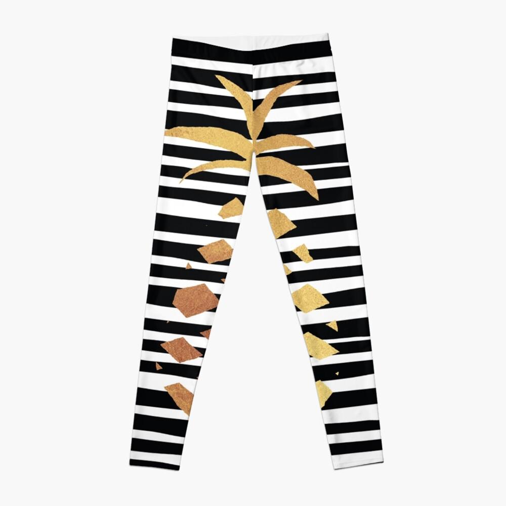 Gold Pineapple-B&W Leggings