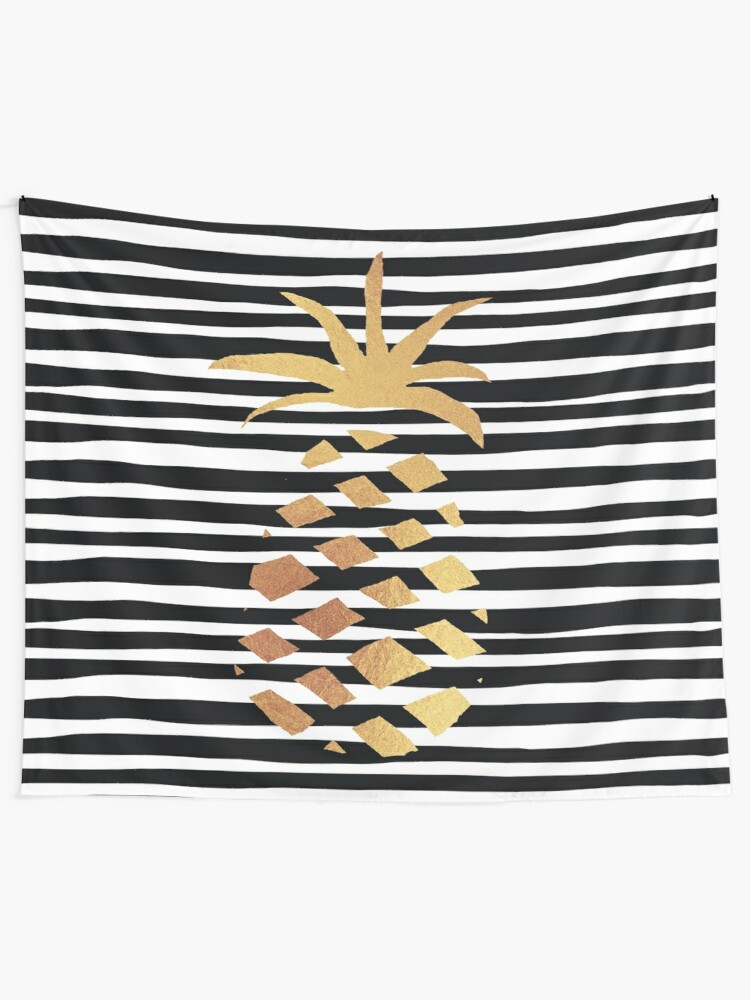 Alternate view of Gold Pineapple-B&W Tapestry