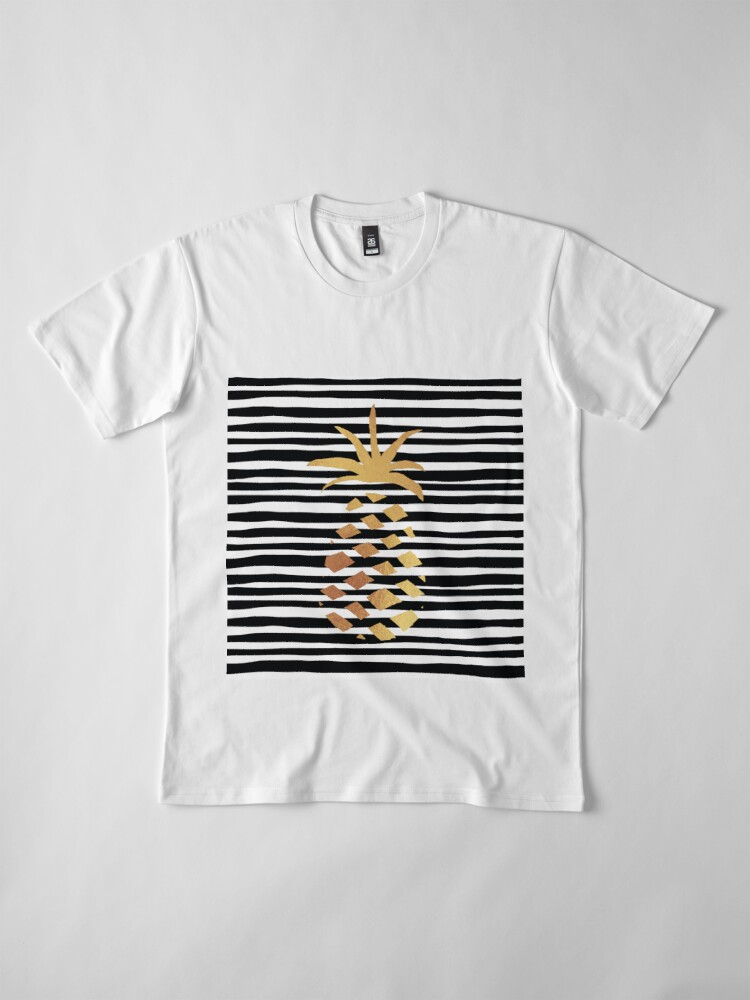 Alternate view of Gold Pineapple-B&W Premium T-Shirt