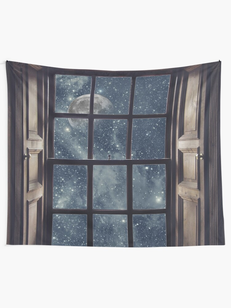 Alternate view of Space view Window-Moon shine Tapestry