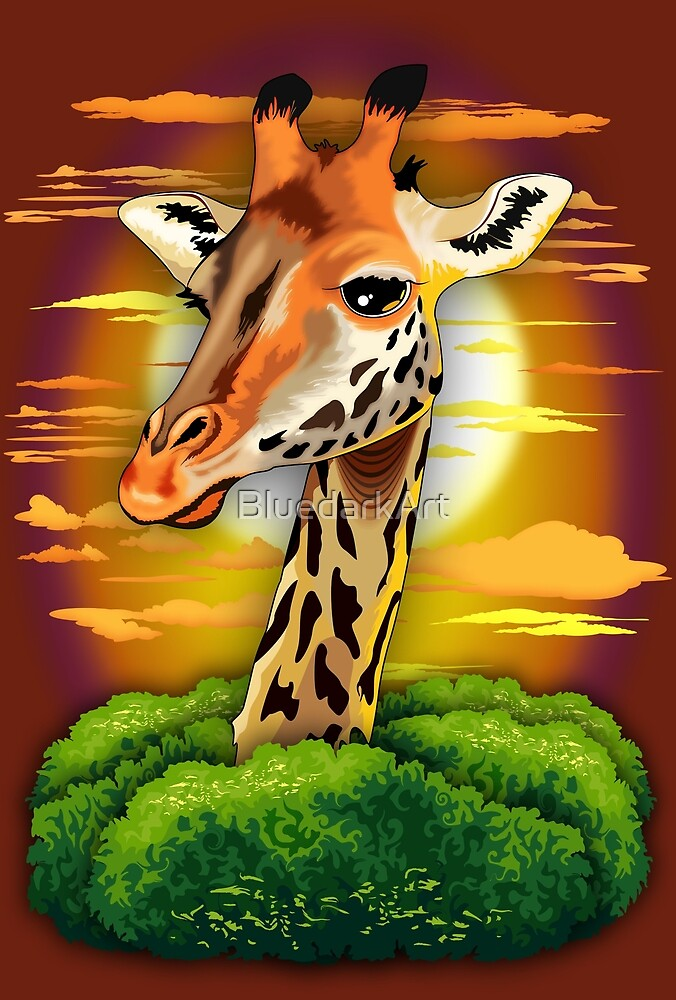 Giraffe on Wild African Savanna Sunset  by BluedarkArt