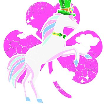 Irish Unicorn Jumping Shamrock St. Patrick's by frittata