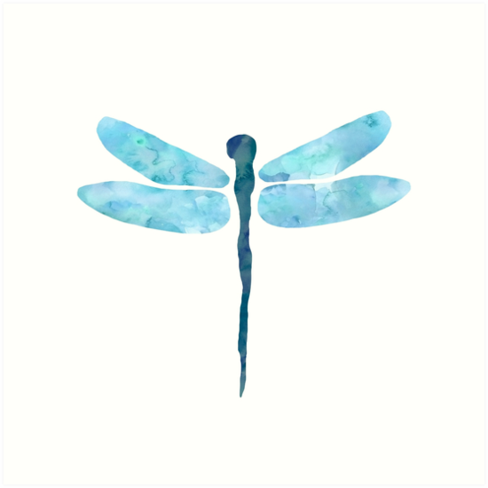 Blue watercolor dragonfly by irinatsy