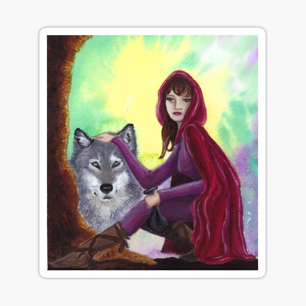 Red and the Wolf Sticker