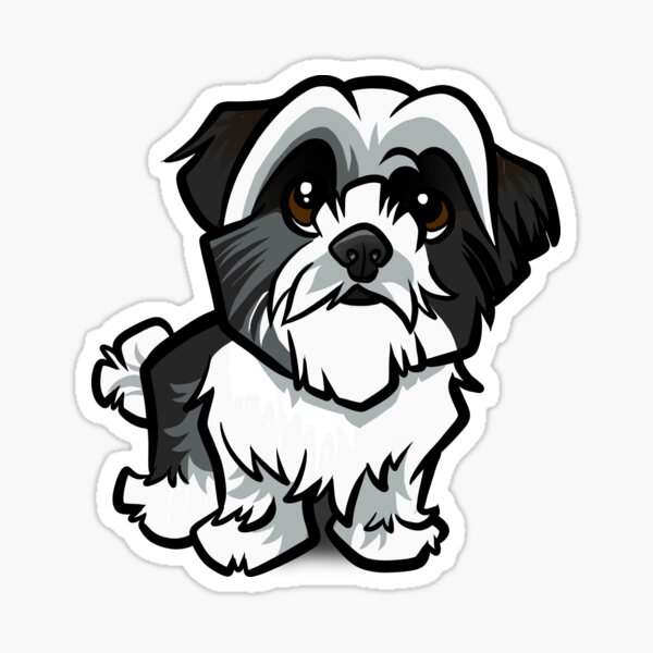 Shih Tzu - Black and White Sticker