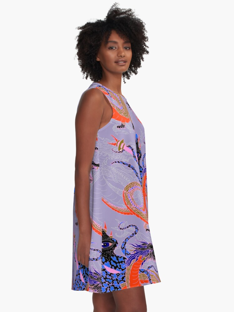 Alternate view of Japanese Water Dragon 虬竜 A-Line Dress