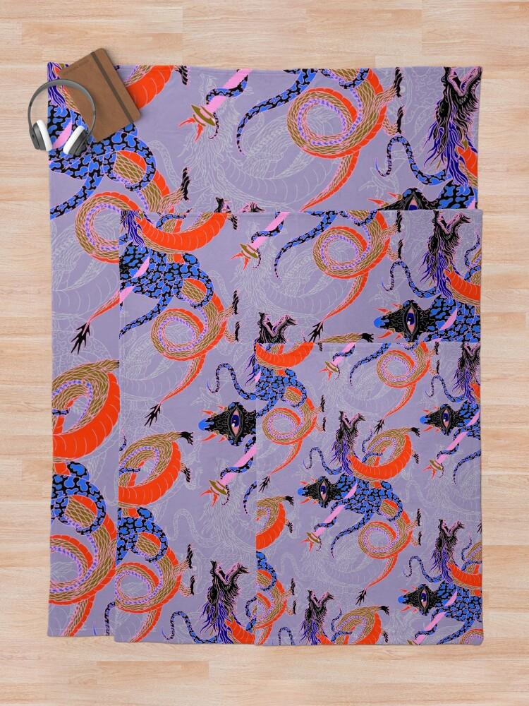 Alternate view of Japanese Water Dragon 虬竜 Throw Blanket