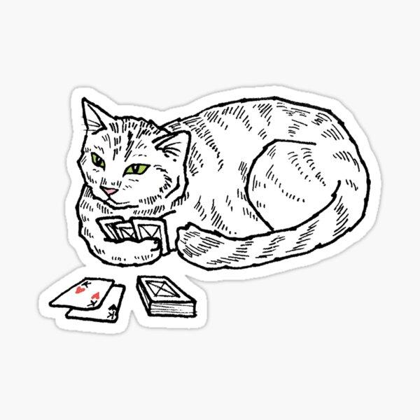 cards cat Sticker