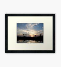 Sunset with Ducks Framed Print