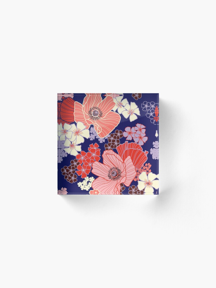 Alternate view of Wild Poppies pattern Acrylic Block