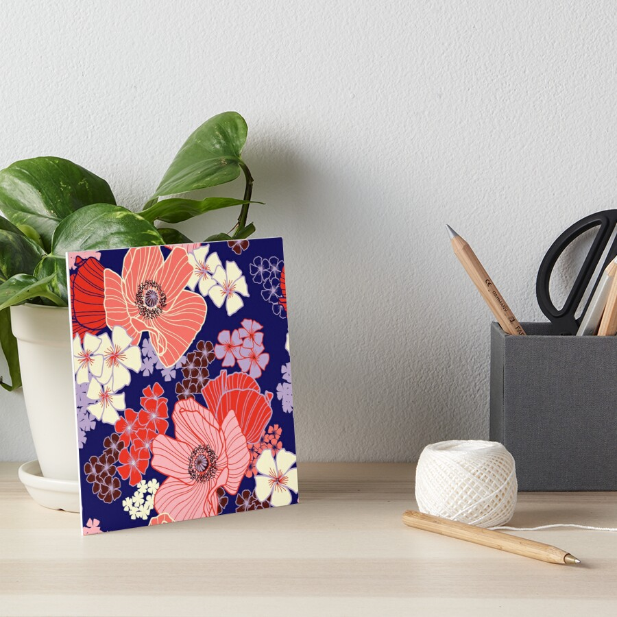 Wild Poppies pattern Art Board Print