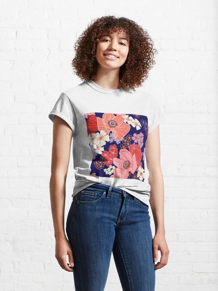 Alternate view of Wild Poppies pattern Classic T-Shirt