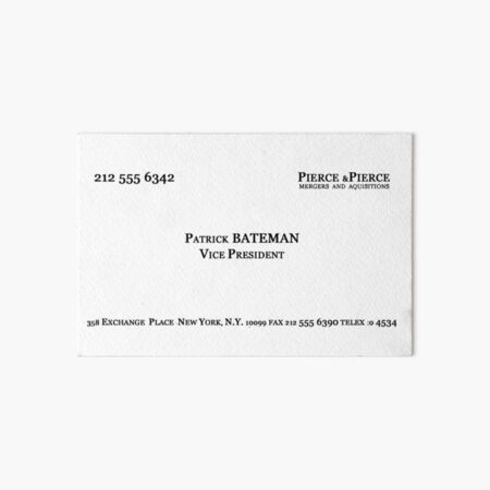 American Psycho Patrick Bateman's Card Art Board Print