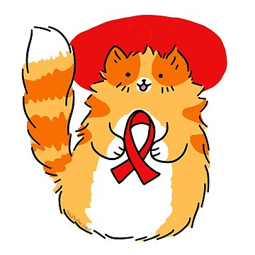 Red Ribbon HIV Awareness Kitty by SaradaBoru