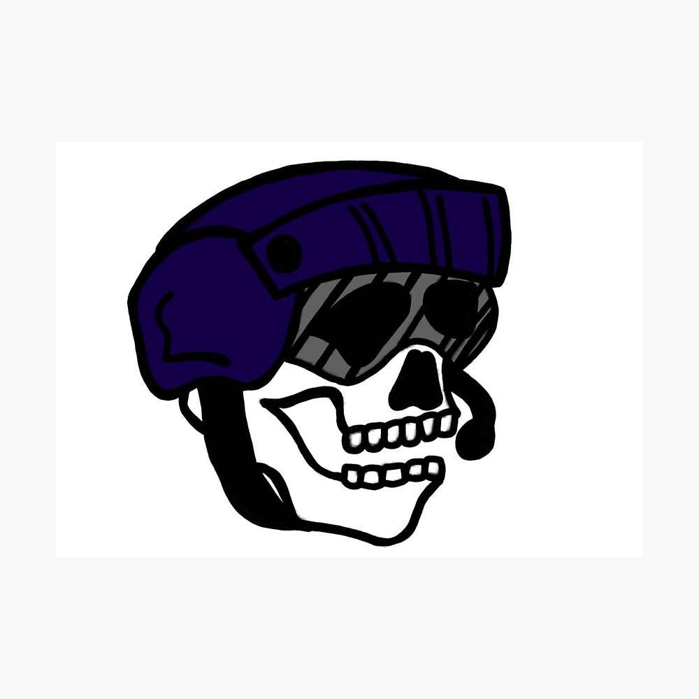 Coast Guard Skulls - Flight Mech Helmet Photographic Print