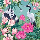 Resting By The Magnolia Blossom and Lotus Flowers by Angie Spurgeon