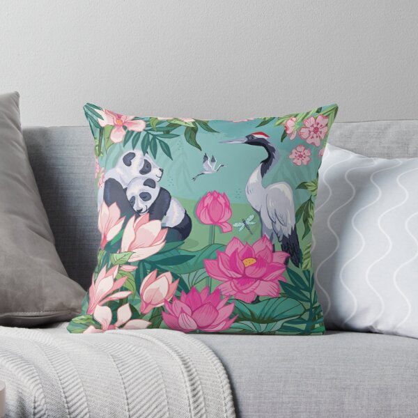 Resting By The Magnolia Blossom and Lotus Flowers Throw Pillow