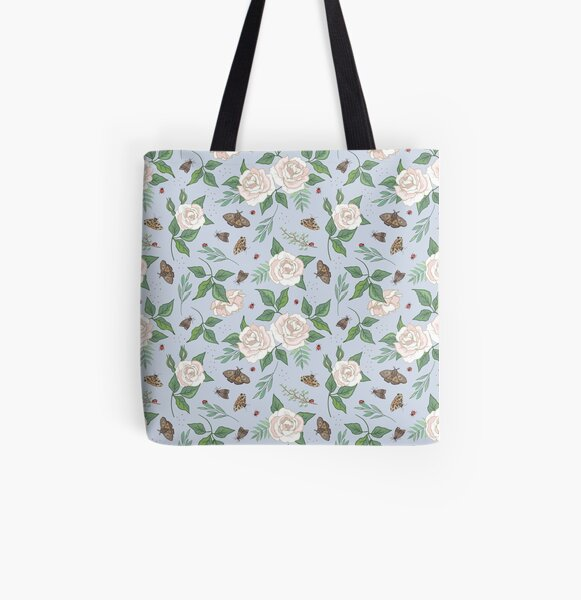 White Roses and Moths on Blue All Over Print Tote Bag