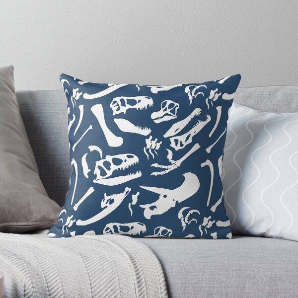 Dinosaur Bones (Blue) Throw Pillow