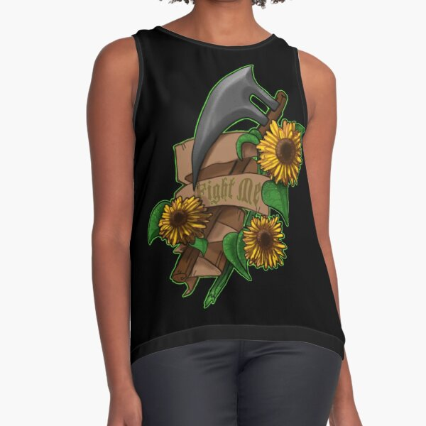 Fight Me Axe & Sunflowers quirky Illustration banner  Sleeveless Top