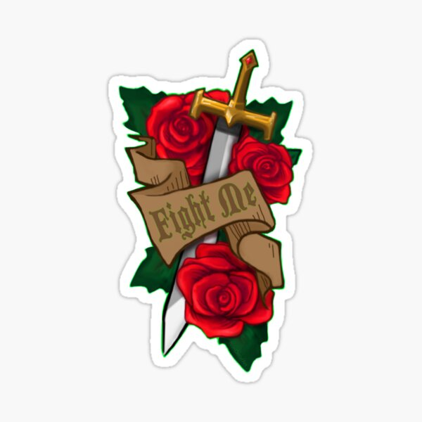 Fight Me Sword & Roses D&D battle illustration icon art  Sticker