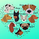 dogs, french bulldogs, pugs, poodles, boxers with turquoise background by Angie Stimson