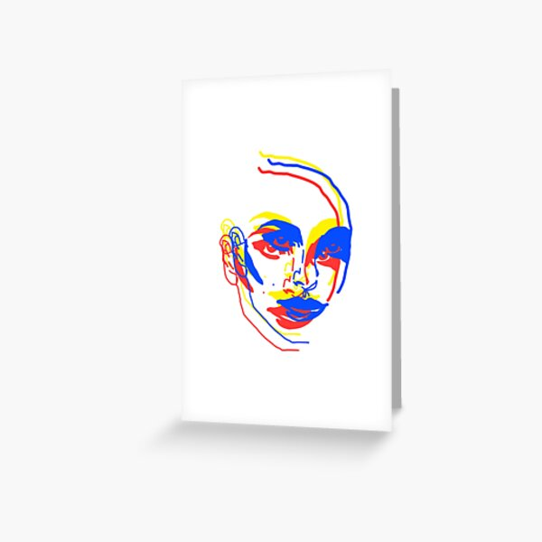 Natalie Portman Pop Art Red Yellow Blue Primary Color Greeting Card