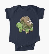 Piggyback Running Riding Team Gift Sloth Turtle Shirt Short Sleeve Baby One-Piece