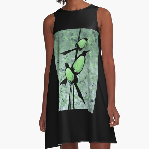 Triple Bird Branch A-Line Dress