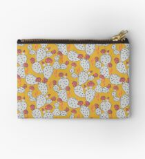 Coral Flowering Cactus on Mustard Yellow Studio Pouch
