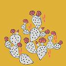 Korallenroter blühender Kaktus auf Senfgelb von Jacqueline Hurd