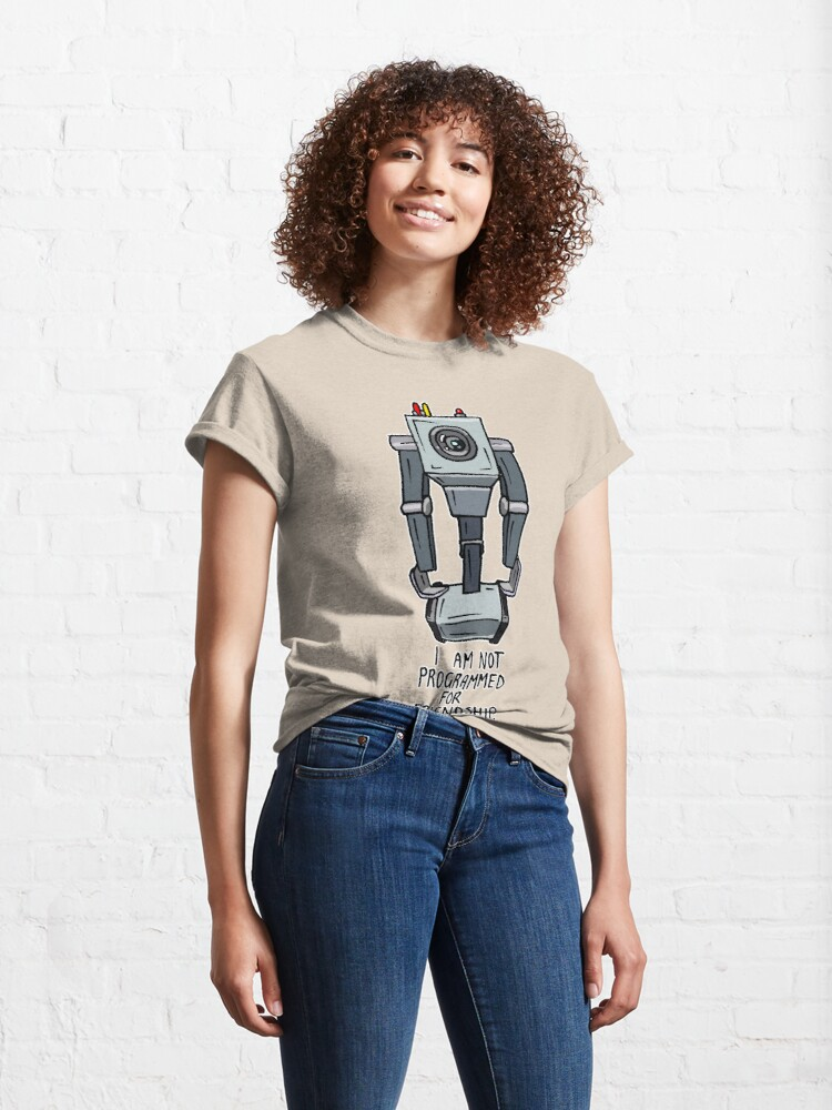 """Alternate view of Butter Robot from Rick and Morty™ with Quote """"I am not programmed for friendship."""" Classic T-Shirt"""