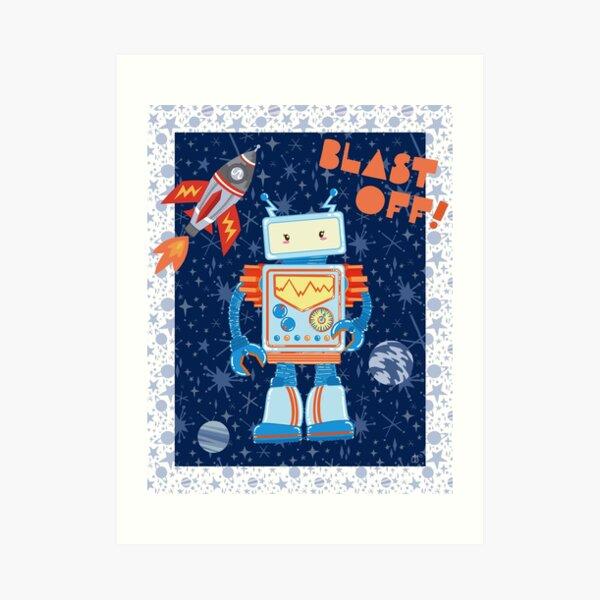 Blast Off Robot Art Print