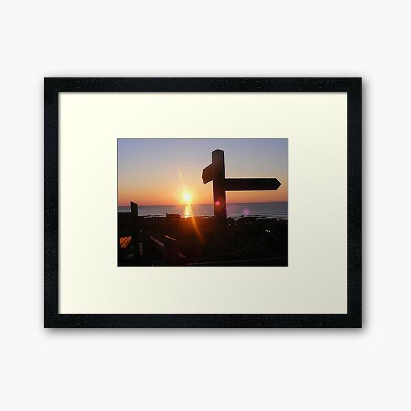 sign soaking in the sun Framed Art Print