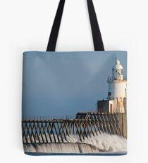 Blyth North Pier LIghthouse, Northumberland Tote Bag