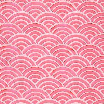 Japanische Seigaiha Wave - Powder Pink Palette von catcoq